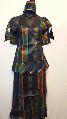 Women Clothing African Kente Print Ankara Skirt Suit w/ Wrap Skirt 3X 48