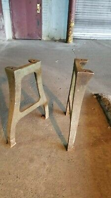 Antique Heavy Cast Iron Legs 28 Tall Steampunk Industrial Table