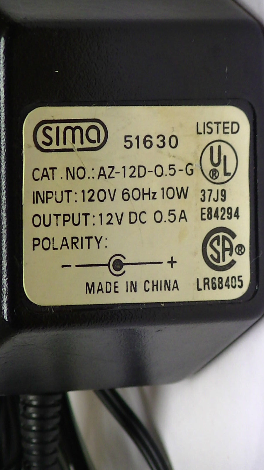 AC-Adapter-Sima-Model-51630-AZ-12D-0.5-G-Output-12vdc-0.5A