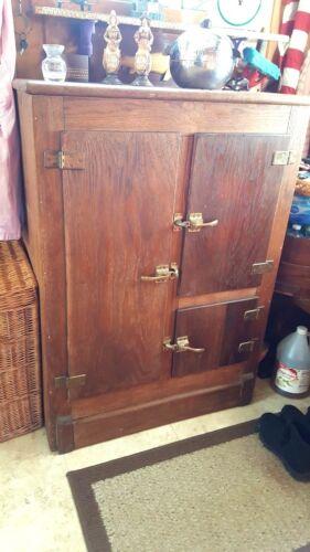 """Antique Oak Ice Box; LARGE 45"""" H x 22 1/2"""" D x 32 1/2"""" W -7 Storage Surfaces"""