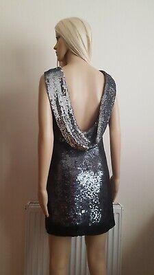 Karen Millen All Over Sequin Silk Overlay Low Cowl Back Shift Dress UK8 RRP £260
