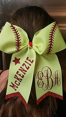 Personalized Softball Vine Monogrammed Cheer Style Hair Bow w/ Red Glitter Tails (Red Glitter Bow)