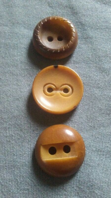 3 Antique Carved Vegetable Ivory Buttons.