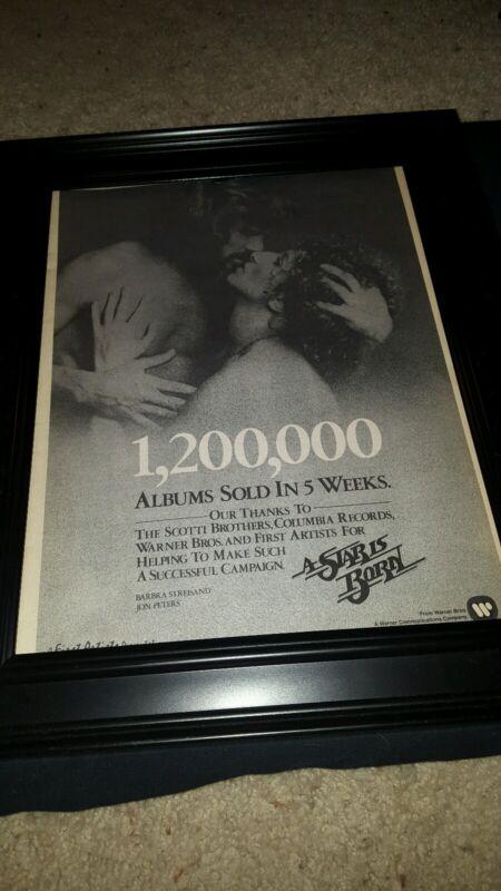 Barbra Streisand A Star Is Born Rare Original Promo Poster Ad Framed!