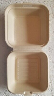 Biodegradable Clamshell Take Out Container Eco Friendly Natural 6x6. Qty. 300