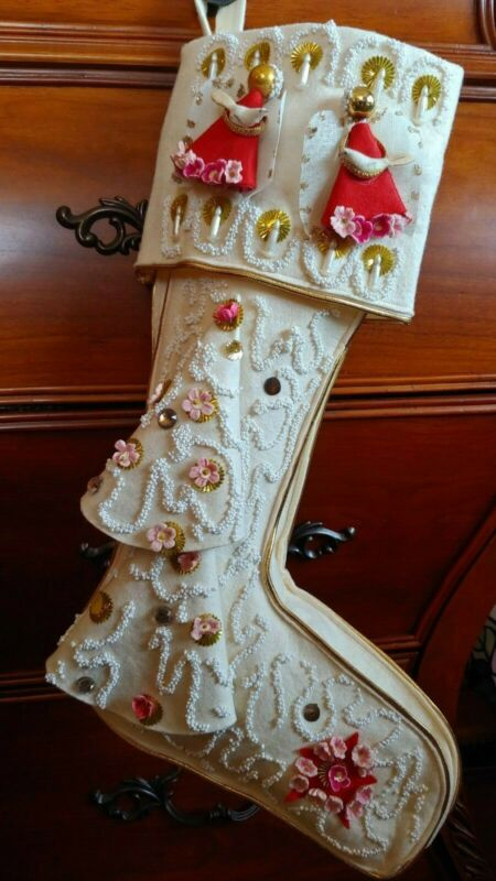 vintage handmade Christmas stocking sequins and many decorative adornments