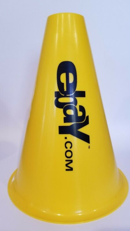 "eBay Yellow Plastic Megaphone from 1995 or 1996 - 7 1/2"" high"