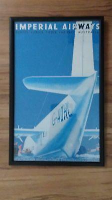 Framed Vintage Art Deco Travel Poster Imperial Airways Boat Plane