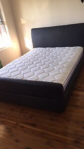 Black leather bed plus queen mattress. St Clair Penrith Area Preview
