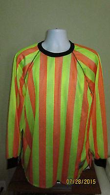 Large XL Hoffman Paintball Apparel Orange Yellow Striped Tourney Jersey Shirt