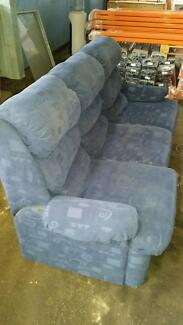 3 Seater and 1 Recliner Blue Fabric Sofa Hendon Charles Sturt Area Preview