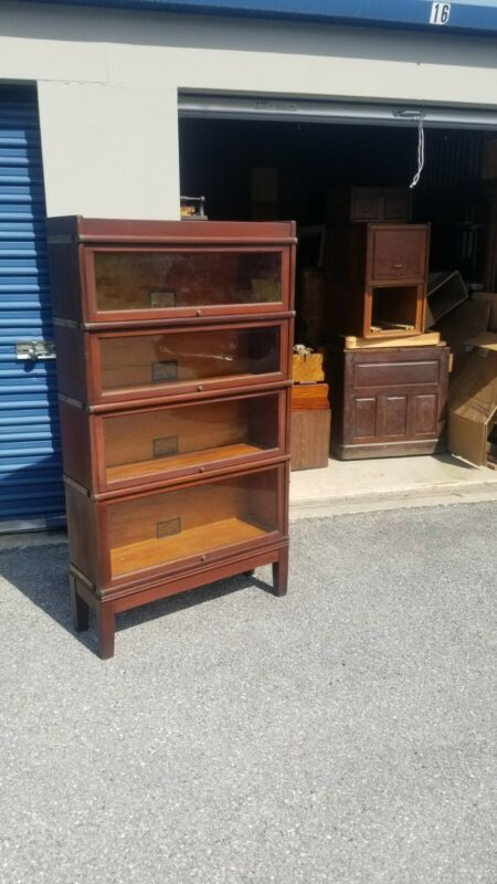 GLOBE WERNICKE 4 SECTION MAHOGANY 598 BARRISTER BOOKCASE      (12-20)
