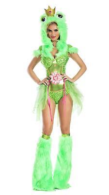 Kiss Me Frog Green Adult Womens Romper Costume NEW (Kiss Womens Costume)