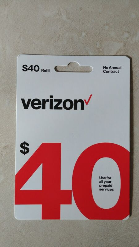 $40 Verizon Wireless Prepaid Refill Card, Email Delivery