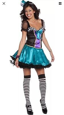 ADULT WOMENS LADY MAD HATTER COSTUME ALICE IN WONDERLAND HALLOWEEN - Medium