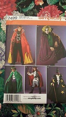 Simplicity Pattern 2499 Mens Halloween Costumes Joker Wizard Pirate L XL - Joker Halloween Costume Pattern