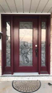 Wrought iron smoked glass front door for sale