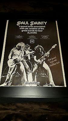 Status Quo Paul Dainty Corp. Australia Tour Rare Original Promo Poster Ad Framed