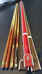 Billiards Snooker Pool Cues (2 of 4 New) + Carry Cases North Haven Port Adelaide Area Preview