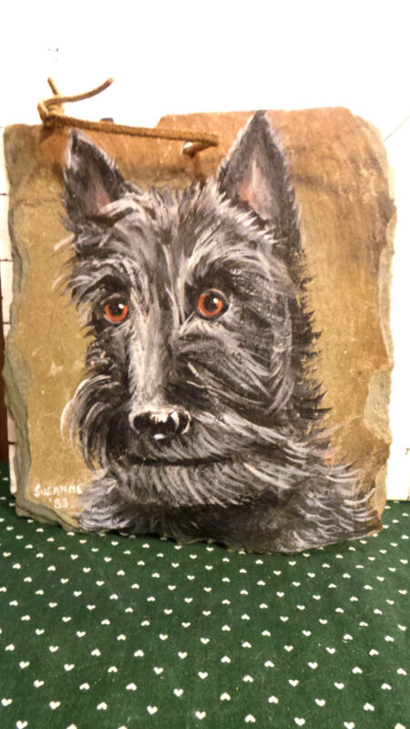 Artwork, Schnauzer on Slate, Black & Grey Dog Hand painted by Susanne, '83