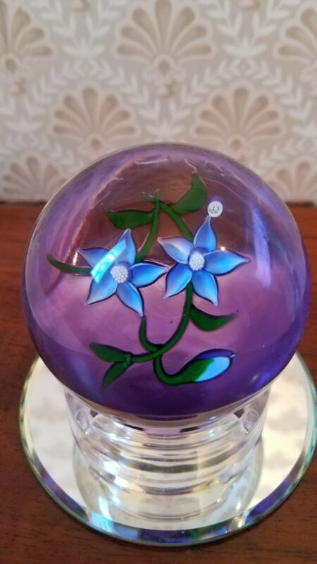 J Glass John Deacons Paperweight Pair of Blue Clematis Flowers Signed 1979