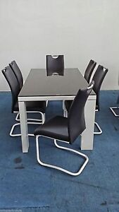 Celestial Rita 7pc Dining Table Setting White/Black Chairs Sydney City Inner Sydney Preview