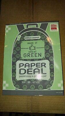 Office Depot Color Copy Paper - Green.- 300 sheets - 20 lb. - NEW  (Green Copy Paper)
