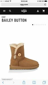 100% Authentic UGG Bailey Button boots - Kids Size 1