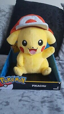 TOMY T18981 Pokemon Pikachu Plush Toy with Ash Hat