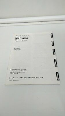 Craftsman Planermolder Operators Manual 351.217330 Sears Roebuck