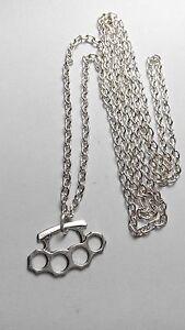 A knuckle duster Tibetan Silver Charm, Long ( 30