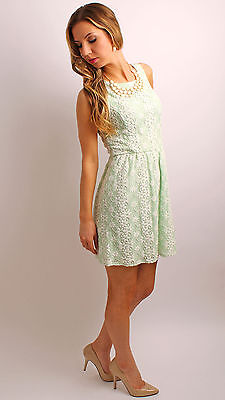 NEW On SALE Woman's Junior's Beautiful Green Mint Lace Skater Dress  XS S M