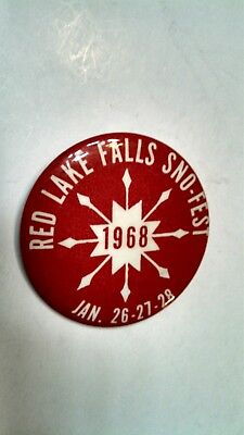 Vintage Collectible Button Pin Back Sno-Fest Red Lake Falls, MN 1968 Nice!