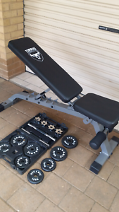 Workout bench and weights set for sale