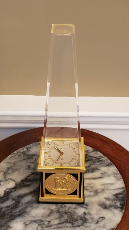 VINTAGE JAEGER LECOULTRE 8 DAY DESK CLOCK EGYPTIAN OBELISK, EXCELLENT