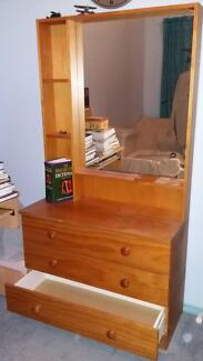 Pine Dressing Table with Mirror Greenwith Tea Tree Gully Area Preview