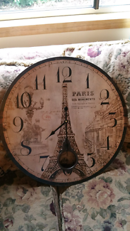 Paris themed wall clock large WORKING CONDITION