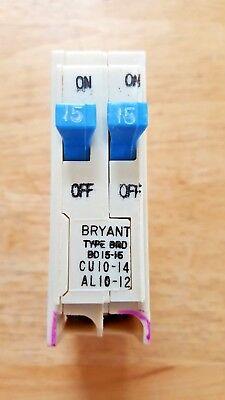 One Bryant Bd1515 Brd Duplex Circuit Breaker Single Pole 1515 Amp 120 Volt Nos