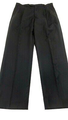 CHIAVARI MENS BLACK /NAVY PINSTRIPES FINE ITALIAN WOOL DRESS PANTS SIZE 34 X 32