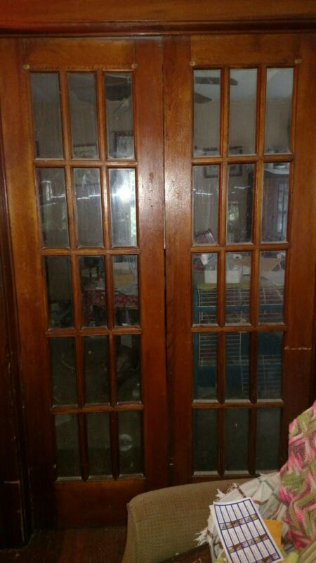"""ANTIQUE INTERIOR FRENCH SOLID WOOD FRENCH DOORS 24"""" X 80"""" EACH VGC"""