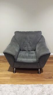 Large Blue Suede Armchair Putney Ryde Area Preview