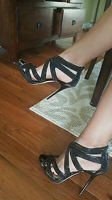 NWT Jimmy Choo COLLAR amber lame glitter sandal heels size 39 US 8.5 9 receipt