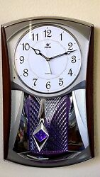Home Melodies In Motion Pendulum Wall Clock-6121 Silver