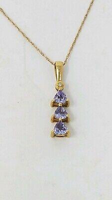 10k Solid Yellow Gold Trillion Tanzanite Diamond Accent Pendant Necklace -