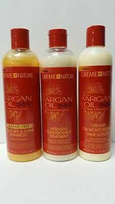 Creme of Nature Argan Oil Trio Set(Shampoo,Intensive Treatment, Oil Moisturizer)