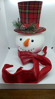 "RAZ Imports~14.75"" Merry Christmas Plaid Snowman Top Hat~Tree Topper~Wreath/Tree"