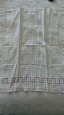 Antique Linen Kitchen Towel SMALL GRAY WINDOWPANE CHECK, EMBROIDERED DESIGN
