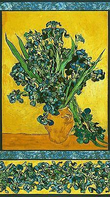 Pre-cut Cotton Fabric Panel Irises: Vincent van Gogh Saint-Remy-de-Provence 1890