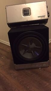 12' clarion sub in baseworks box with 1550 W clarion amp