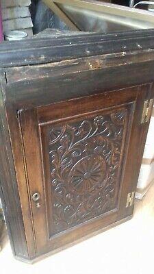 antique carved oak wall hanging corner cupboard